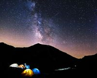 Night Sky in a High Camp Royalty Free Stock Photography