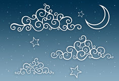 Night Sky Illustration. A digital illustration of the night sky with swirly, stylised clouds, moon and stars. Colour palette: Blue gradient & white. Medium Stock Images