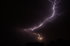 Night sky with lightening strike Stock Images