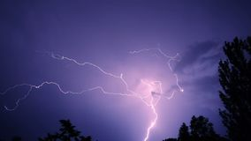 Night sky with lightning. And storm clouds stock footage