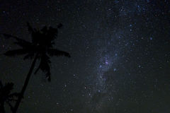 Night sky with lot of shiny stars during Nyepi night in Balian, Stock Images