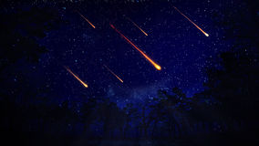 Night sky with a meteor shower Royalty Free Stock Photography