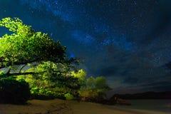 Night Sky. Milky Way Galaxy, Night Sky with Stars.beach of Seychelles stock image