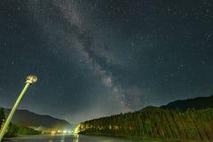 Night sky with milky way and Katun river. Altai royalty free stock photos