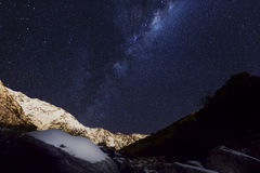 Night sky. Milky way and snowy mountains Stock Photography