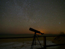 Universe stars observing in telescope Royalty Free Stock Image