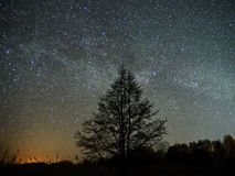 Night sky and milky way stars, Perseus, Cassiopeia over field. Night Sky observing after sunset stock image