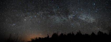 Night sky and milky way stars, Perseus Cassiopea Cygnus and Lyra constellation panoram stock photos