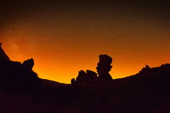 Night sky with milky way on teide crater, tenerife Stock Images