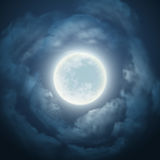 Night sky with the moon and cloud. Vector illustration Royalty Free Stock Photography