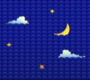Night sky with moon, clouds and stars kid s design, night pattern or background, royalty free illustration