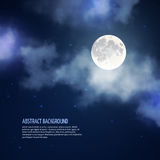 Night sky with moon and clouds vector abstract Stock Images
