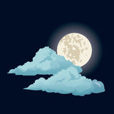 Night sky moon clouds Stock Images
