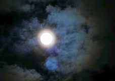 Night sky with moon and colorful cloud Stock Images