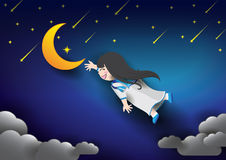 Night sky moon and girl Stock Photo