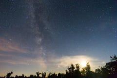 Night sky, moon and a milky way Stock Image