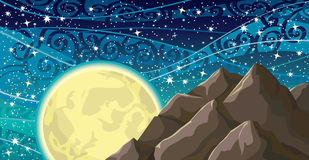Night sky with moon and mountains Stock Image