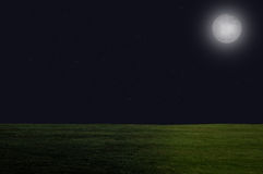 Night Sky with Moon over Grass Stock Images