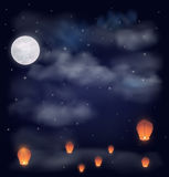 Night sky with the moon, stars and chinese wish lanterns. Vector illustration Stock Image