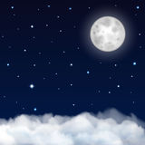 Night sky with moon, stars and clouds Royalty Free Stock Photo
