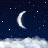Night sky with moon, stars and clouds Royalty Free Stock Photos