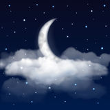 Night sky with moon, stars and clouds Stock Photo