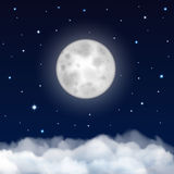 Night sky with moon, stars and clouds Royalty Free Stock Image