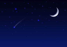 Night sky with moon stars and meteor Royalty Free Stock Photo