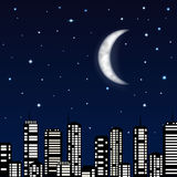 Night sky with moon, stars and silhouette of the city Stock Photos