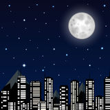 Night sky with moon, stars and silhouette of the city Royalty Free Stock Photo
