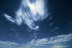 Night sky with moving cloud Royalty Free Stock Photography