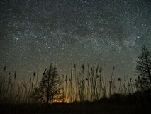 Night sky and milky way stars, Perseus, Cassiopeia over field. Night Sky observing after sunset royalty free stock photo