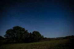 Night sky over a field Royalty Free Stock Photo