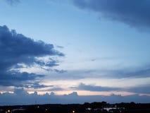 Night sky over lagoon stock photo
