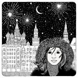 Night sky over Moscow. Artistic black and white illustration of houses, cathedrals, fireworks and a girl Royalty Free Stock Photography