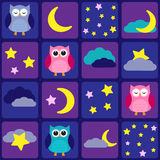 Night sky with owls Stock Photo