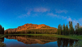 Night sky panorama with Hayden Peak in the Uinta Mountains. Night sky with the Milky Way reflection in a lake, Uinta Mountains, Utah, USA Stock Photography