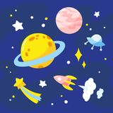 Night sky with planets, rocket and stars. Vector illustration stock illustration