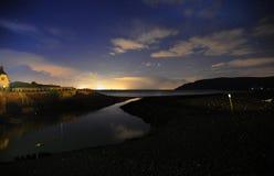 Night sky at Porlock Weir, Somerset. The night sky over Porlock Weir, Somerset, England Stock Photos