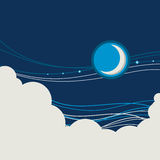 Night sky poster background with half moon and clouds Royalty Free Stock Image