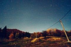 Night sky with power line Royalty Free Stock Image