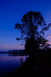 Night sky at Reservoir Royalty Free Stock Photos