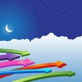 Night Sky Scene - Arrows Royalty Free Stock Photos