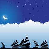 Night Sky Scene - Boats Stock Photo