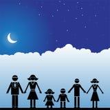 Night Sky Scene - Family Stock Image
