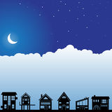 Night Sky Scene - Homes. Background night scene with clouds and moon with homes Stock Photo