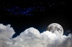 Night sky scene mock-up with white clouds, full moon and distant stars royalty free stock photo