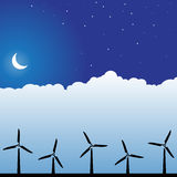 Night Sky Scene - Wind Turbines Stock Photography