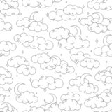 Night sky seamless pattern with clouds stars and moons outline. Cute children illustration. For background or textile royalty free illustration