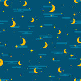 Night sky seamless pattern design. Moon, stars and clouds repeti Stock Image